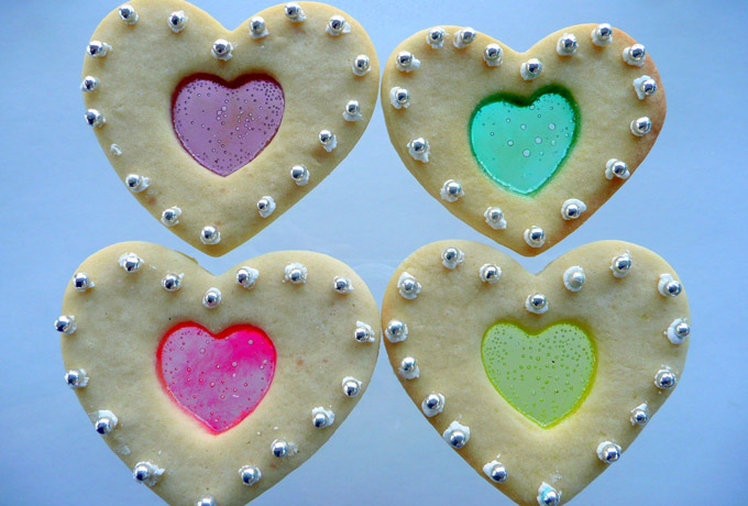 Stained Glass Cookies for Valentine's Day