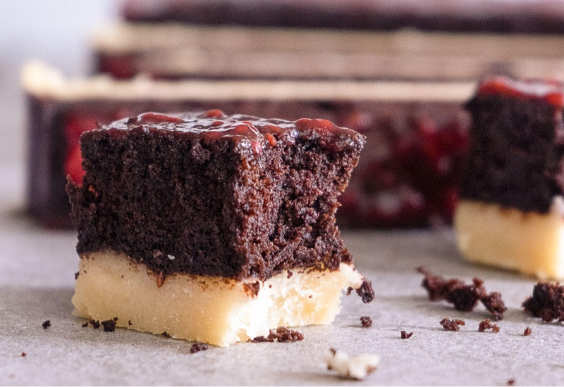 Raspberry Chocolate Fudge Cake with Shortbread
