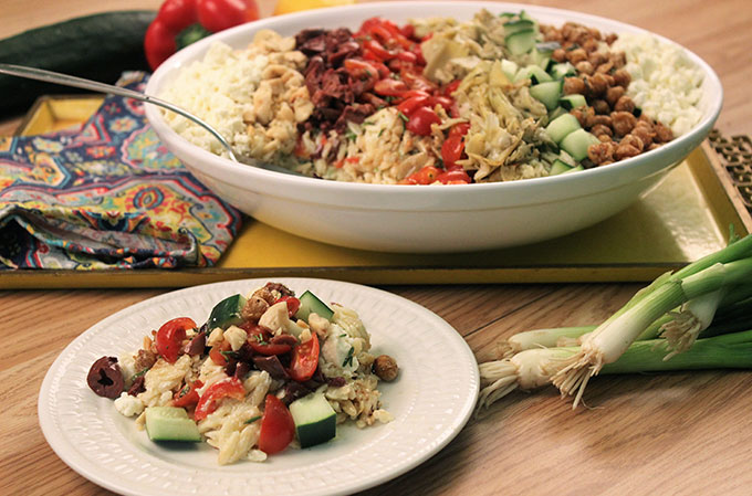 Mediterranean Orzo Salad with Butter Crisped Garbanzo Beans