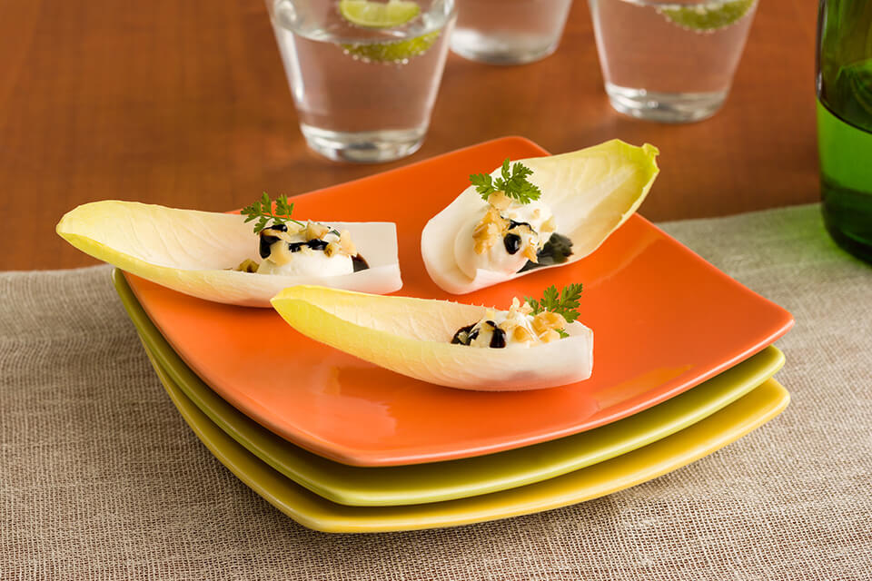 Cheese Stuffed Endive Topped with Balsamic Orange Reduction