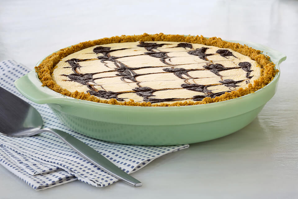 Cheesecake Pie with Chocolate Ripples