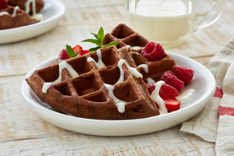 Chocolate Waffles with Berries and Cream Cheese Syrup