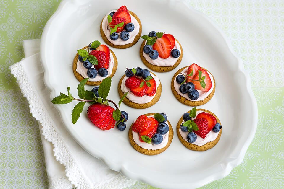 Fresh Berries & Strawberry Cream Cheese Tartlets