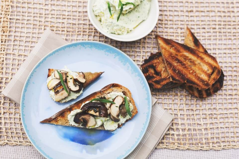 Grilled Mushroom Toast with Roasted Garlic-Tarragon Cream Cheese