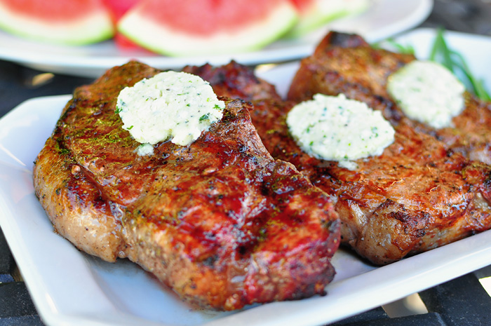 Grilled New York Steak with Blue Cheese-Tarragon Butter