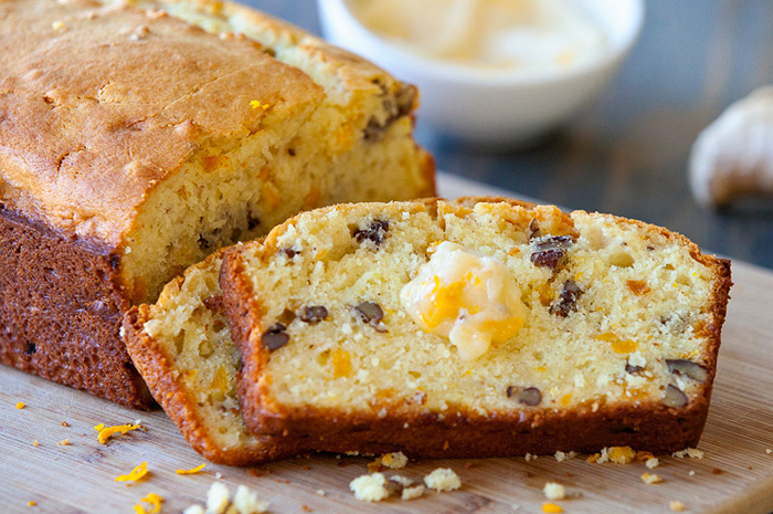 Orange Mango Nut Bread with Ginger Honey Butter