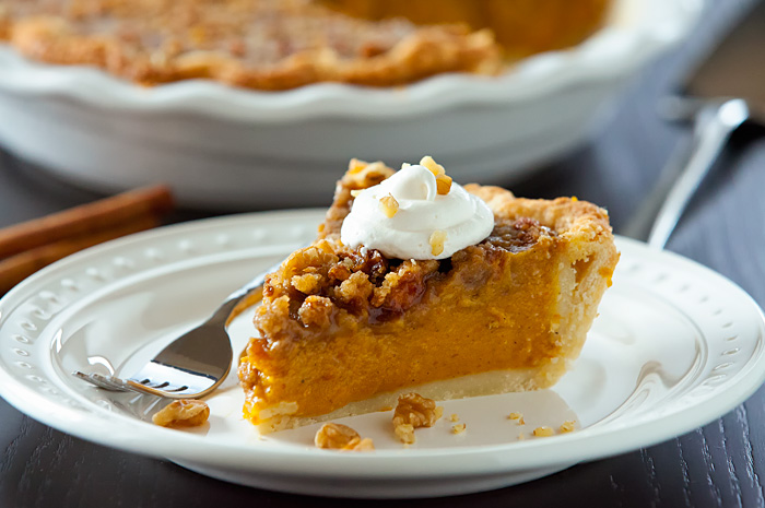 Pumpkin Pie with Ginger Walnut Streusel Topping