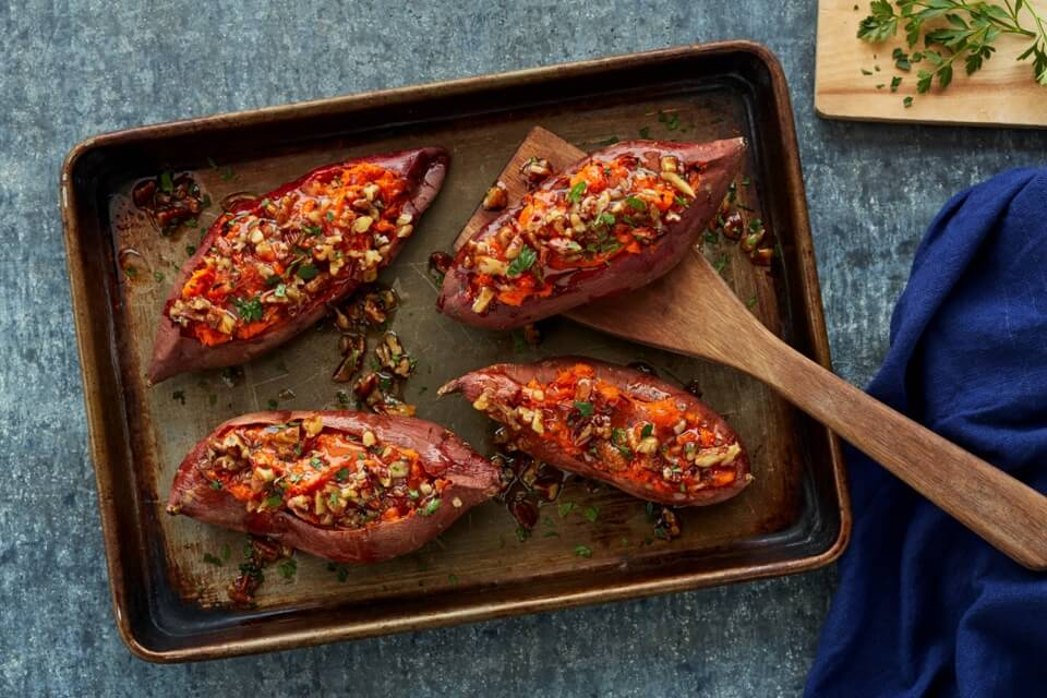 Roasted Sweet Potatoes with Maple Pecan Butter