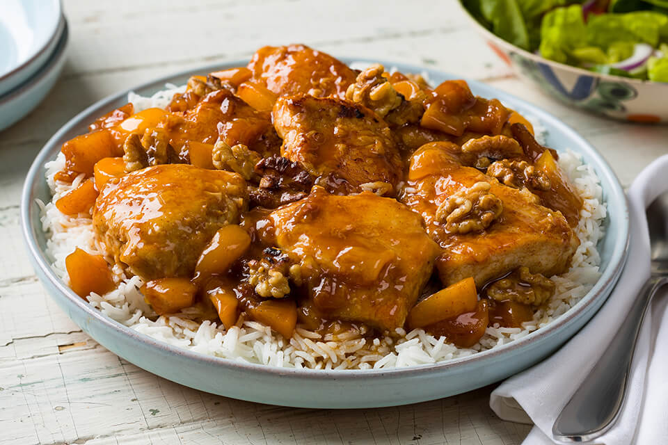 Sauteed Chicken with Spicy Peach Sauce