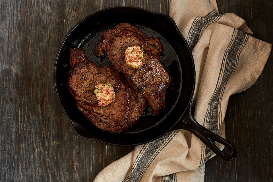 Steaks with Bacon Chive Butter