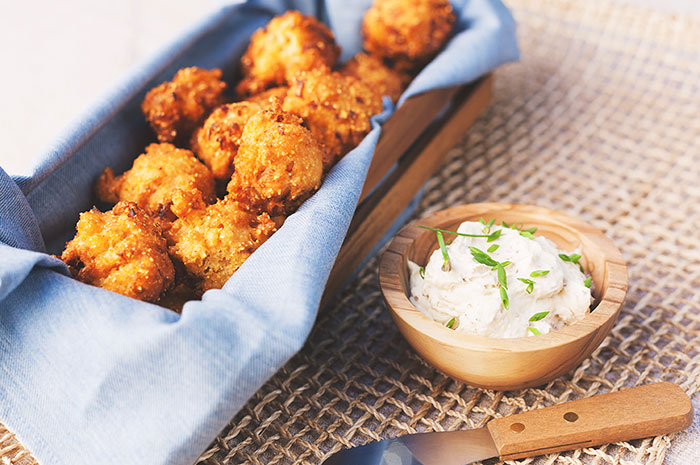 Bacon Hushpuppies with Maple-dijon Cream Cheese Spread