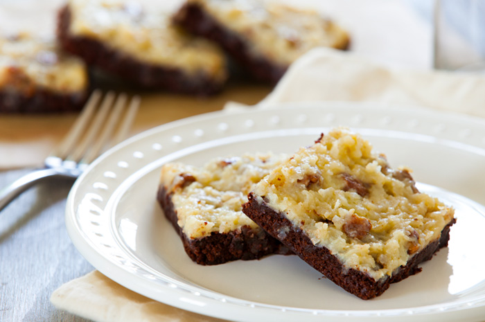 Coconut Pecan Topped Brownies