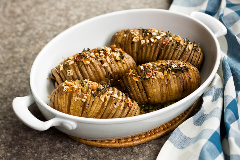 Hasselback Potatoes with Thyme and Almonds