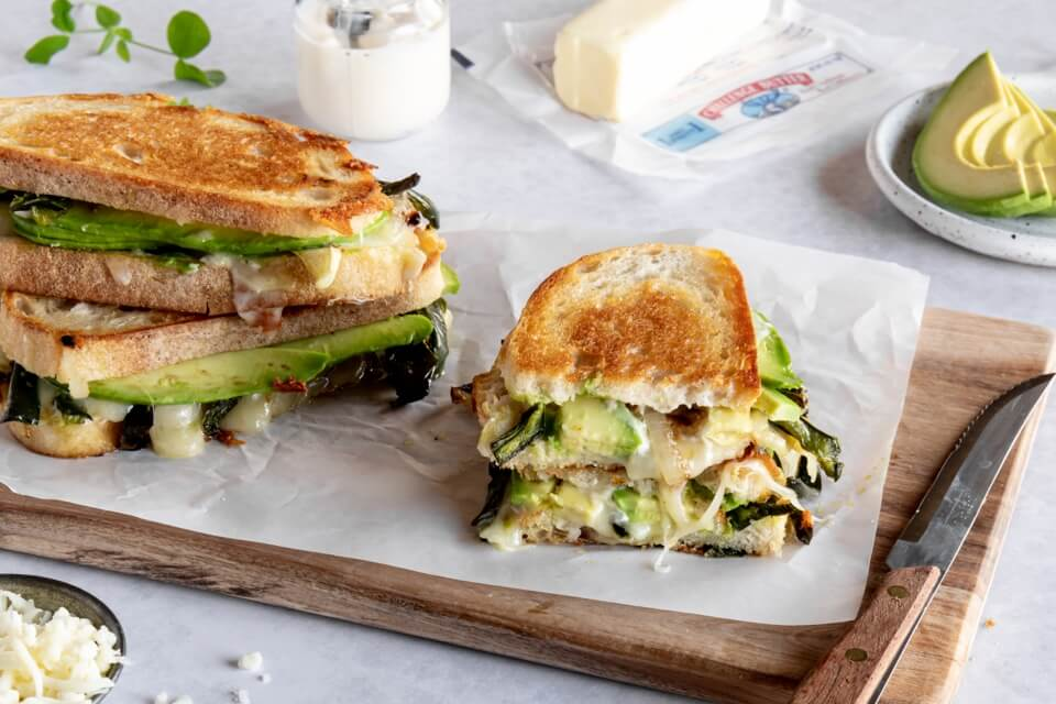 Roasted Poblano, Onion and Avocado Grilled Cheese