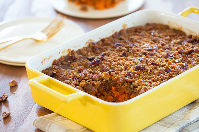 Maple-Glazed Yams with Butter Pecan Topping
